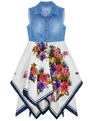 Washed Denim Large Floral Print Hanky Dress (Pack of 8)
