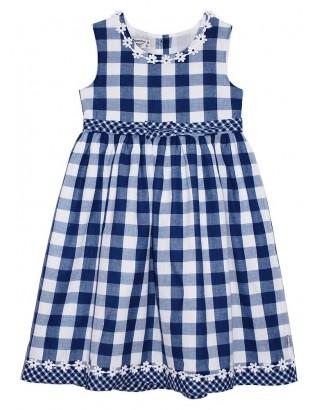 Check Print Daisy Trim Tent Dress (Pack of 6)