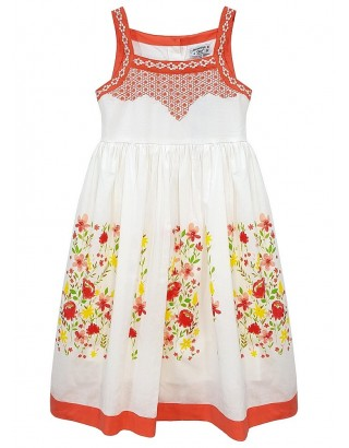 Floral Print Embroidered Bodice Summer Dress (Pack of 8)