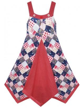 Patchwork & Polka Dot Print Flare Dress (Pack of 8)