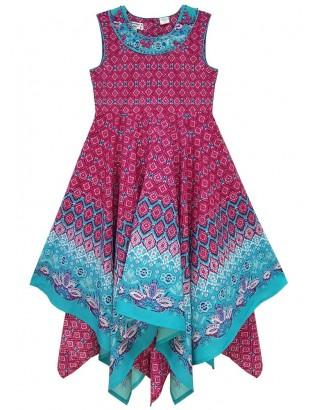 Border Print Embellished Hanky Dress (Pack of 8)