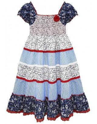 Stripe & Floral Print Crochet Gypsy Dress (Pack of 8)