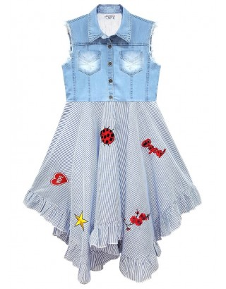 Washed Denim Striped Dress with Embroidery (Pack of 8)