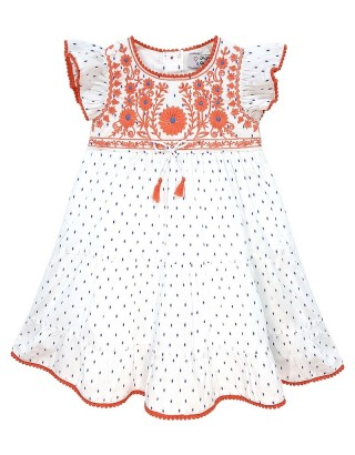 Toddlers Embroidered Scallop Trim Dress (Pack of 8)
