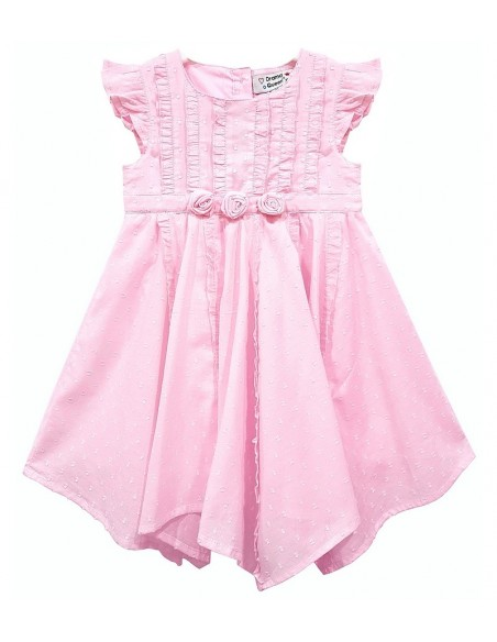 Toddlers Pretty Pink Rose Ruffle Dress (Pack of 8)