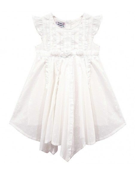Toddlers White Rose Ruffle Dress (Pack of 8)