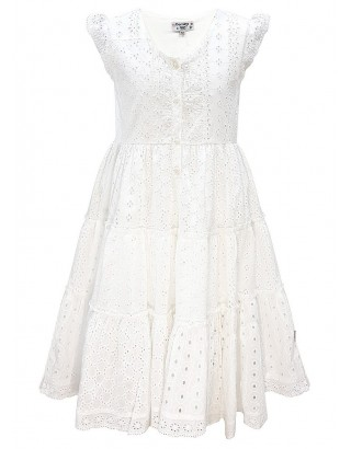 White Onglaire Lace Trim Flare Dress (Pack of 8)