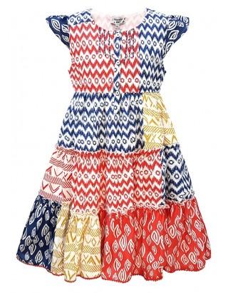 Multi Print Flare Dress with Scallop Trim Hem (Pack of 8)