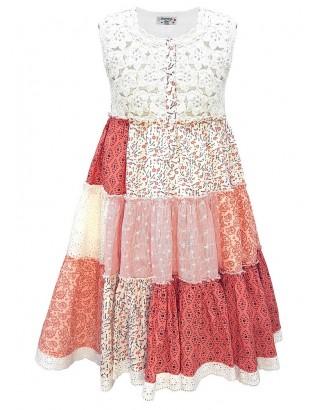 Multi Print Patchwork Crochet Sun Dress (Pack of 8)