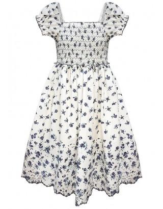 Lilac Floral Print Scallop Hem Sun Dress (Pack of 8)