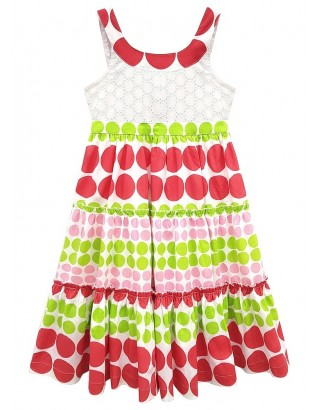 Red & Pink Large Polka Dot Layered Flare Dress (Pack of 8)