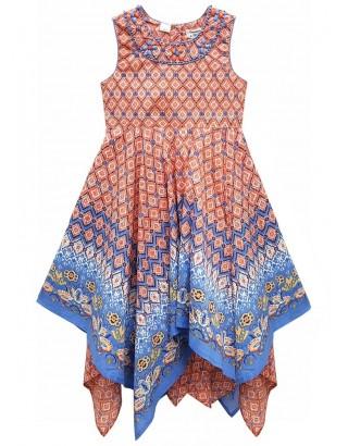 Coral Border Print Embellished Hanky Dress (Pack of 8)