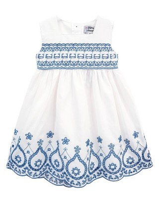 Toddlers White Embroidered Scallop Hem Dress (Pack of 8)