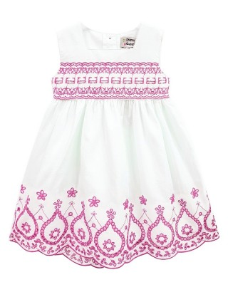 Toddlers Pink Embroidered Scallop Hem Dress (Pack of 8)