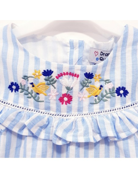 Toddlers Stripe Embroidered Ruffle Dress (Pack of 8)