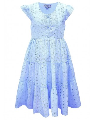 Blue Onglaire Lace Trim Flare Dress (Pack of 8)