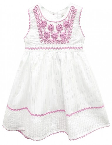 Toddlers Embroidered Lace Trim Dress