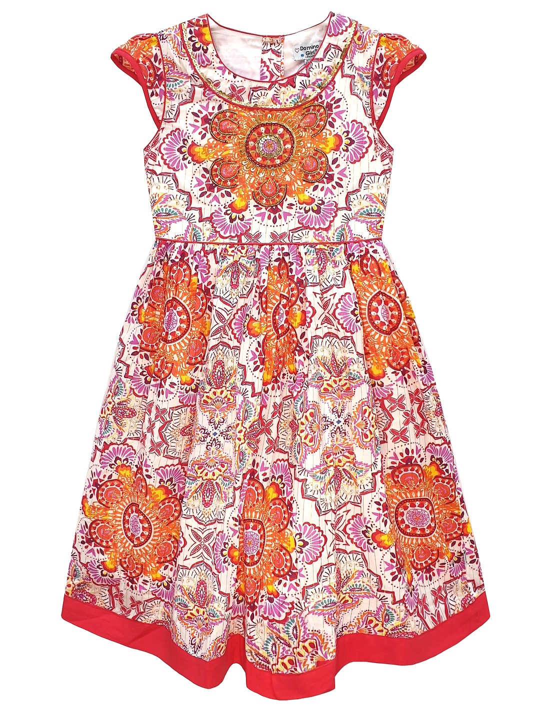 Domino Girl/'s 100/% cotton Cleopatra Embroidered /& Sequin Sun Dress 3 to 11 Years